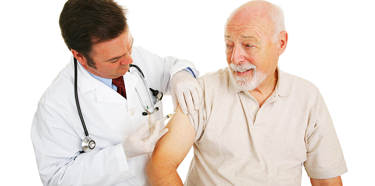 doctor injecting a medicine on a patient